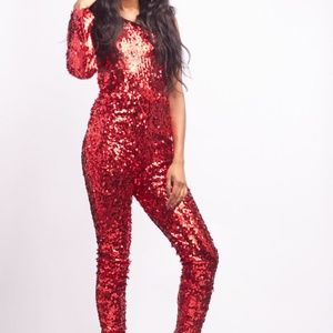Red Sequin Asymmetrical Sleeve Jumpsuit